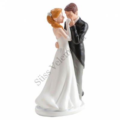 Kézcsókos nászpár esküvői tortadísz