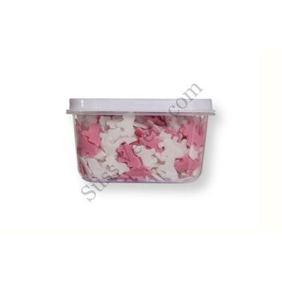 Kis kiszerelésű (40g) rózsaszín-fehér unikornis alakú cukorkonfetti
