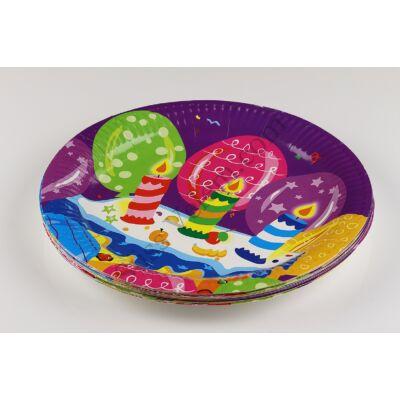 Lila alapon lufi és gyertya mintás papír tányér kis méretű