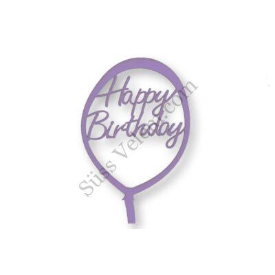 Lila lufi alakú Happy Birthday feliratos tortadísz sziluett