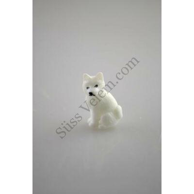Mini fehér kutya műanyag tortadísz szülinapi tortára