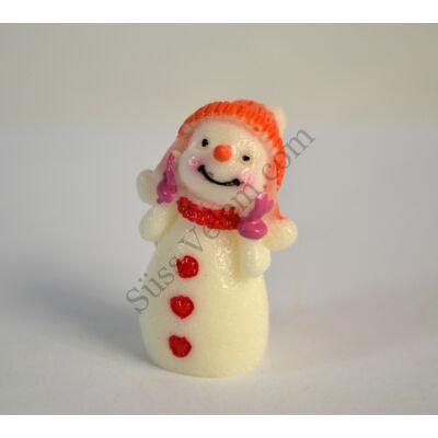 Mini hóember rózsaszín kesztyűben műanyag tortadísz