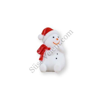 Mini hóember sálban és sapkában műanyag tortadísz
