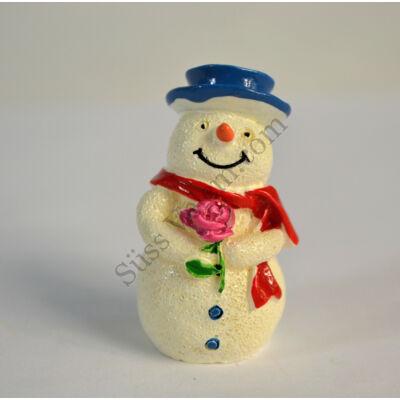 Mini kalapos hóember műanyag tortadísz