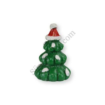 Mini mikulássapkás fenyőfa műanyag tortadísz