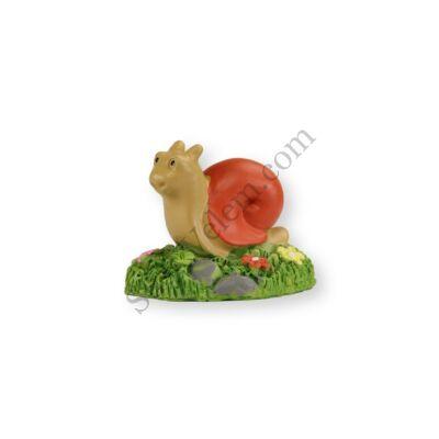 Mini piros csiga virágokkal műanyag tortadísz szülinapi tortára