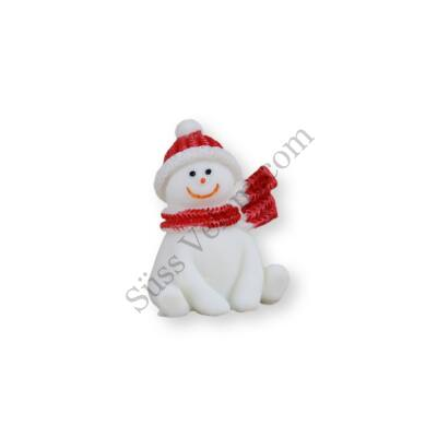 Mini ülő hóember műanyag tortadísz