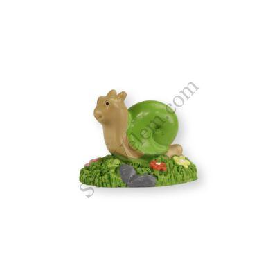 Mini zöld csiga virágokkal műanyag tortadísz szülinapi tortára