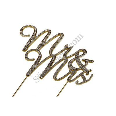 Mr & Mrs strasszos esküvői tortadísz arany