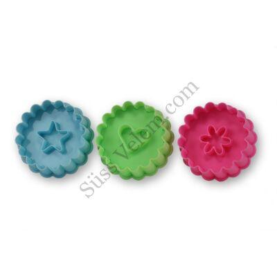 Műanyag rugós linzer kiszúró forma készlet szív, csillag és virág mintával