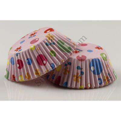 Muffin papír 50 db rózsaszín alapon színes kör és virág mintás