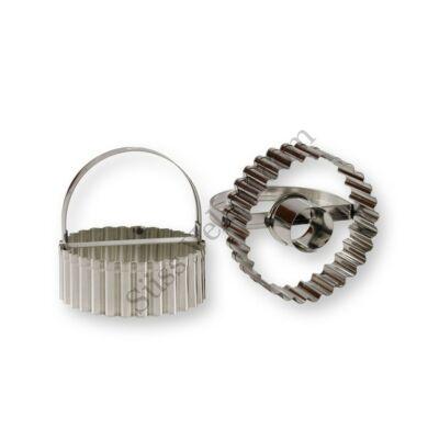 Nagy méretű sűrű cakkozású 2 darabos linzer kiszúró forma