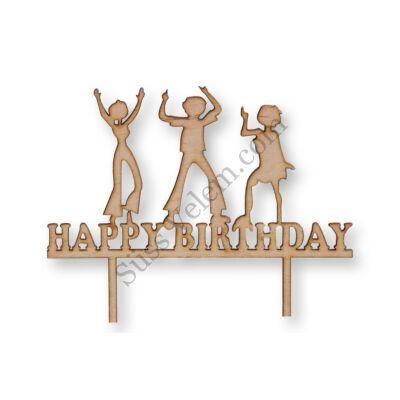 Natúr fa bulizós Happy Birthday feliratos tortadísz sziluett
