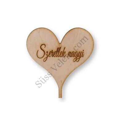 Natúr fa Szeretlek Nagyi feliratos szív alakú tortadísz sziluett
