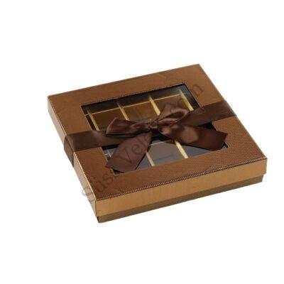 Óriás 25 adagos bronz betekintő ablakos masnis bonbon doboz