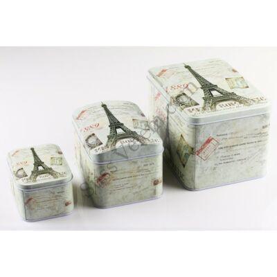 Párizsi emlék 3 részes szögletes fém sütisdoboz készlet