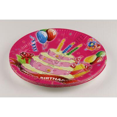 Pink alapon rózsaszín torta és lufi mintás party tányér