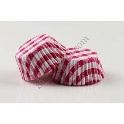 Pink fehér kockás minimuffin papír 125 db