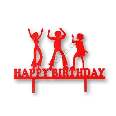 Piros bulizós Happy Birthday feliratos tortadísz sziluett