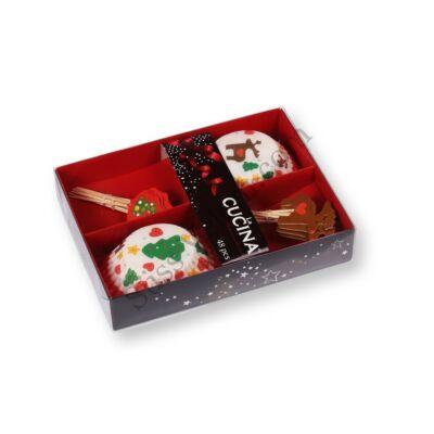 Rénszarvas és karácsonyfa karácsonyi muffin papír és muffin díszítő pálcika szett