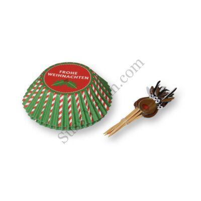 Rénszarvasos karácsonyi muffin díszítő szett (24 muffin papír, 12 db beszúró)
