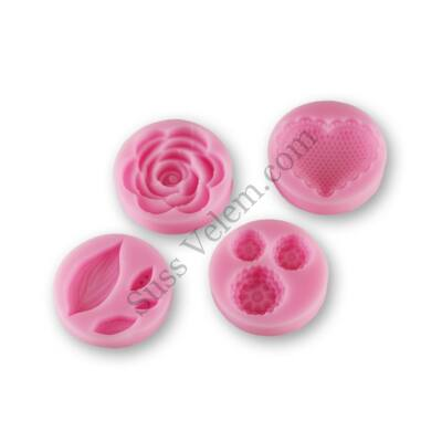 Rózsa, levél, szív és apró virág készítő szilikon forndant forma készlet
