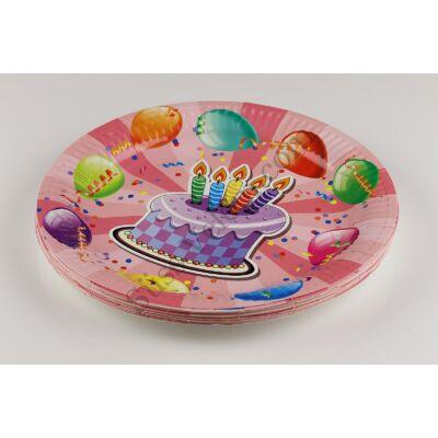 Rózsaszín alapon lila tortás és lufis party tányér