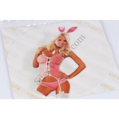 Rózsaszín Playboy nyuszi tortaostya