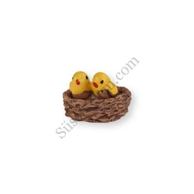 Sárga mini madarak fészekben műanyag tortadísz szülinapi tortára