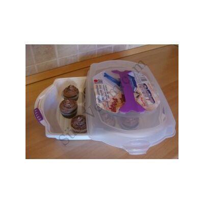 Műanyag sütemény tároló és szállító doboz