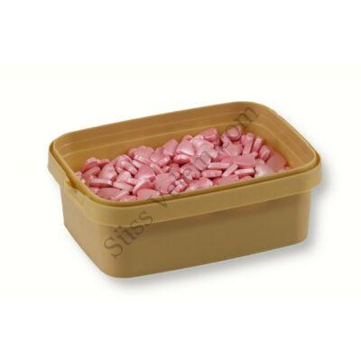 Szatén rózsaszín cukorszív tortadíszítéshez