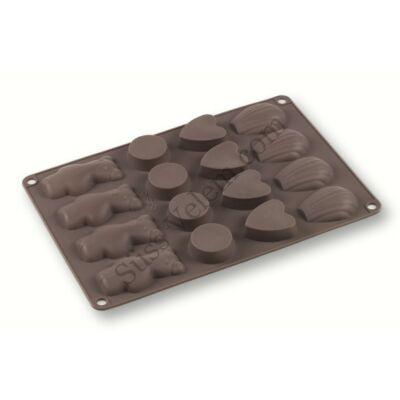 Szilikon mini muffin, vagy bonbon forma 4 különböző alakzattal