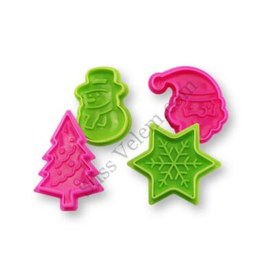 Színes 4 részes karácsonyi fondant kiszúró készlet