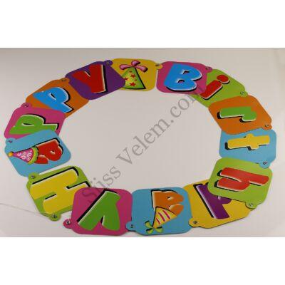 Színes Happy Birthday füzér születésnapi dekoráció