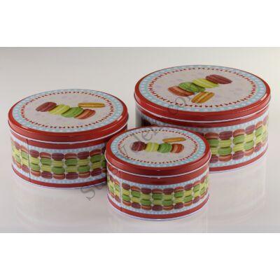 Színes macaron mintás 3 részes fém sütisdoboz készlet