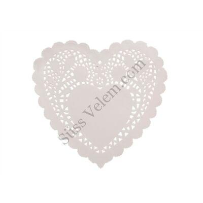 15 db 20*18 cm-es szív alakú fehér tortacsipke