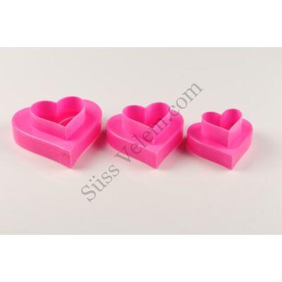 Kétoldalú műanyag szív alakú sütemény kiszúró készlet 3 részes