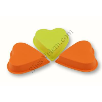 Szív alakú szilikon mini süt?forma 3 db