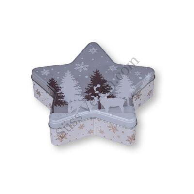 Szürke csillag alakú karácsonyi mintás fém sütisdoboz
