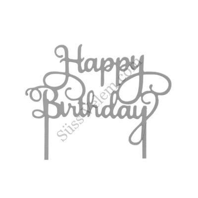 Szürke Happy Birthday felirat tortadísz sziluett