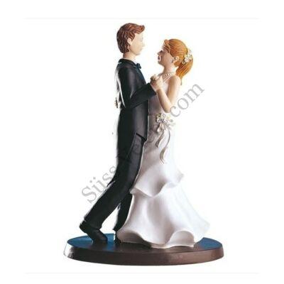 Táncoló nászpár esküvői tortadísz