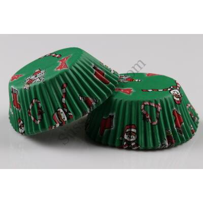 Télapós muffin papír zöld 50 db
