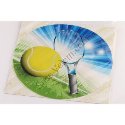 Teniszütő és labda tortaostya