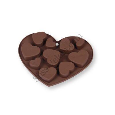 Több méretű szív alakú szilikon csokoládé és bonbon forma