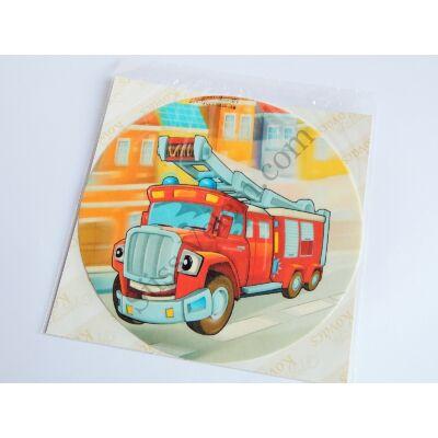 Tűzoltó autó létrás rajzolt tortaostya 20 cm