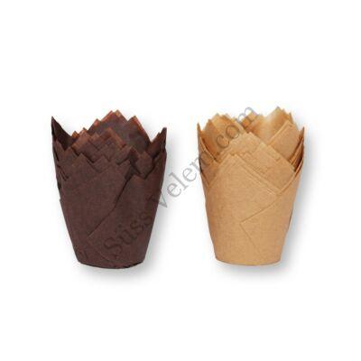 Tulipán alakú barna elegáns muffin papír nagy méretű 100 db