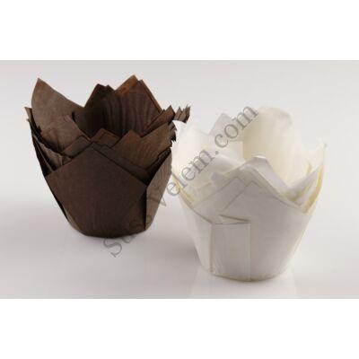Tulipán alakú fehér-barna elegáns muffin papír nagy méretű 24 db