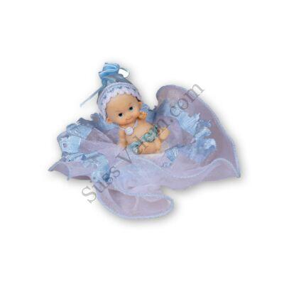 Tüllös fiú babás keresztelő tortadísz