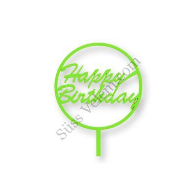 Világoszöld kerek Happy Birthday feliratos tortadísz sziluett