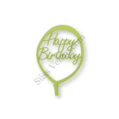 Világoszöld lufi alakú Happy Birthday feliratos tortadísz sziluett